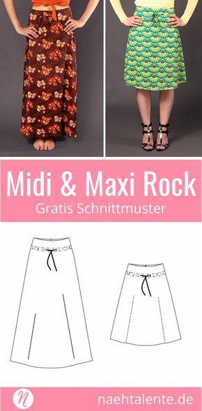 Rock in A-Linie für Damen - kostenloses Schnittmuster Tip | Nähen ...
