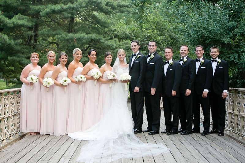 Bridesmaids dresses by Bill Levkoff http://www.billlevkoff.com ||  Groomsmen by Men's Wearhouse http://www.menswearhouse.com/