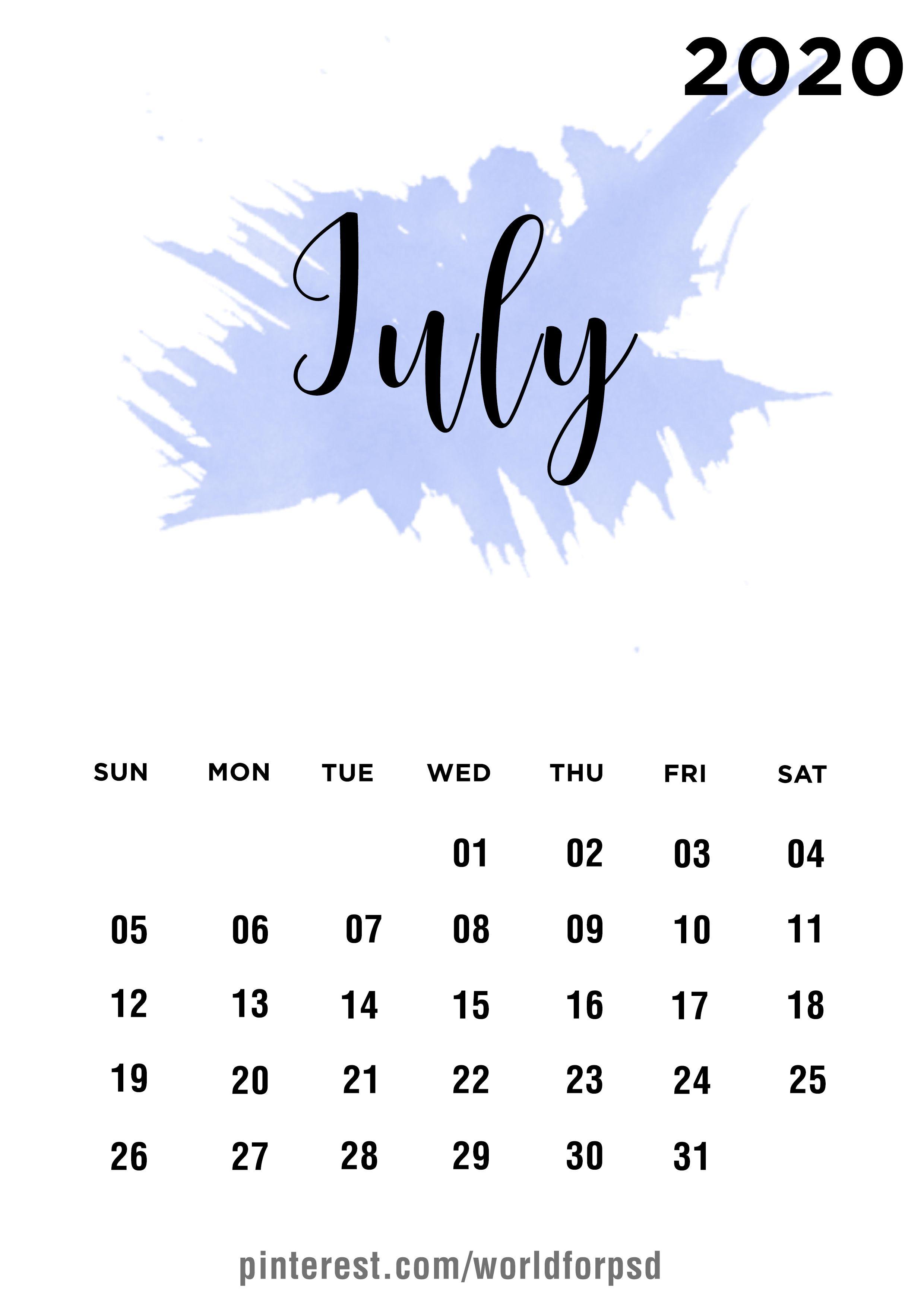 July 2020 Calendar Design calendar calendarideas