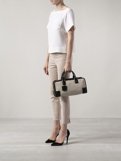 #Loewe - Amazona bag in stone and black.