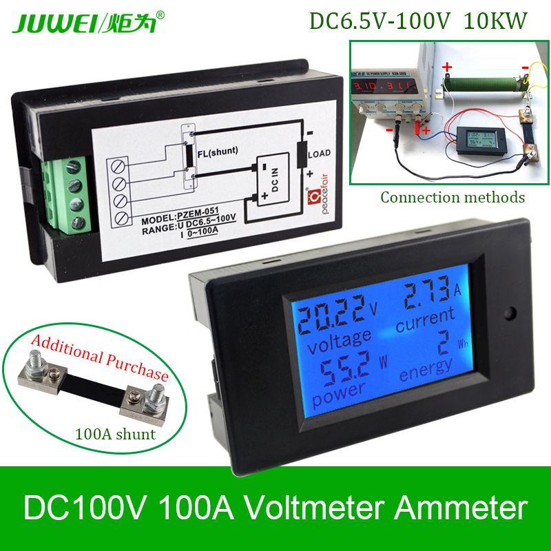 Digital Dc Voltmeter 100v100a Voltage Meters Ammeter Current Power Energy Watt Wh Volt Amps Battery Monitor Blue Backlight Panel Volt Ampere Power Energy Power
