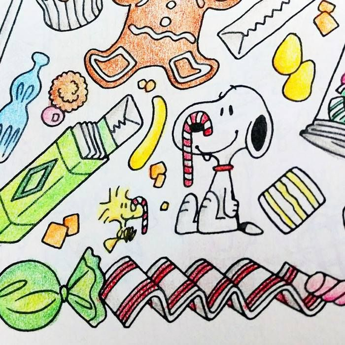 Peanuts Christmas Candy Coloring Page - Peanuts Adult Coloring Book