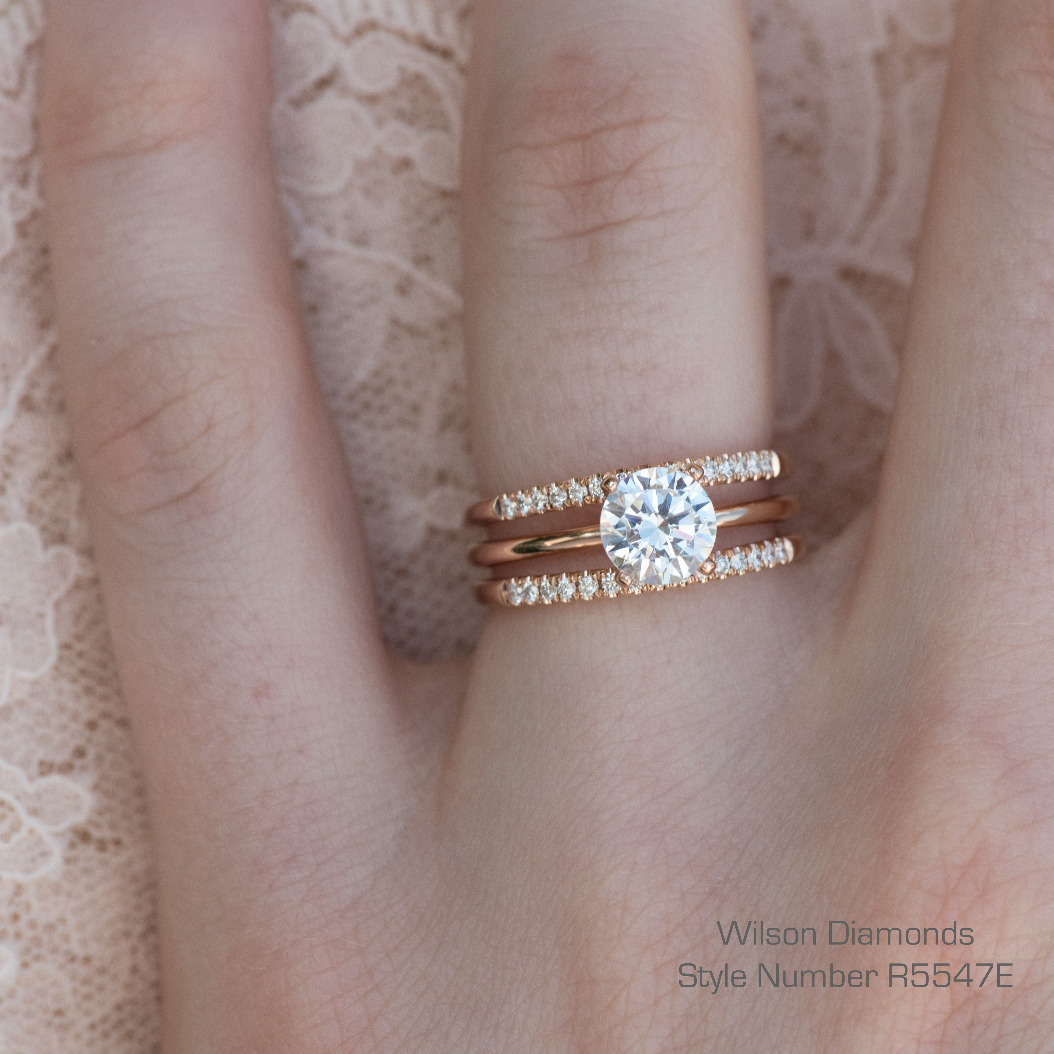 3 rings in 1 A solitaire with two matching pave wedding bands