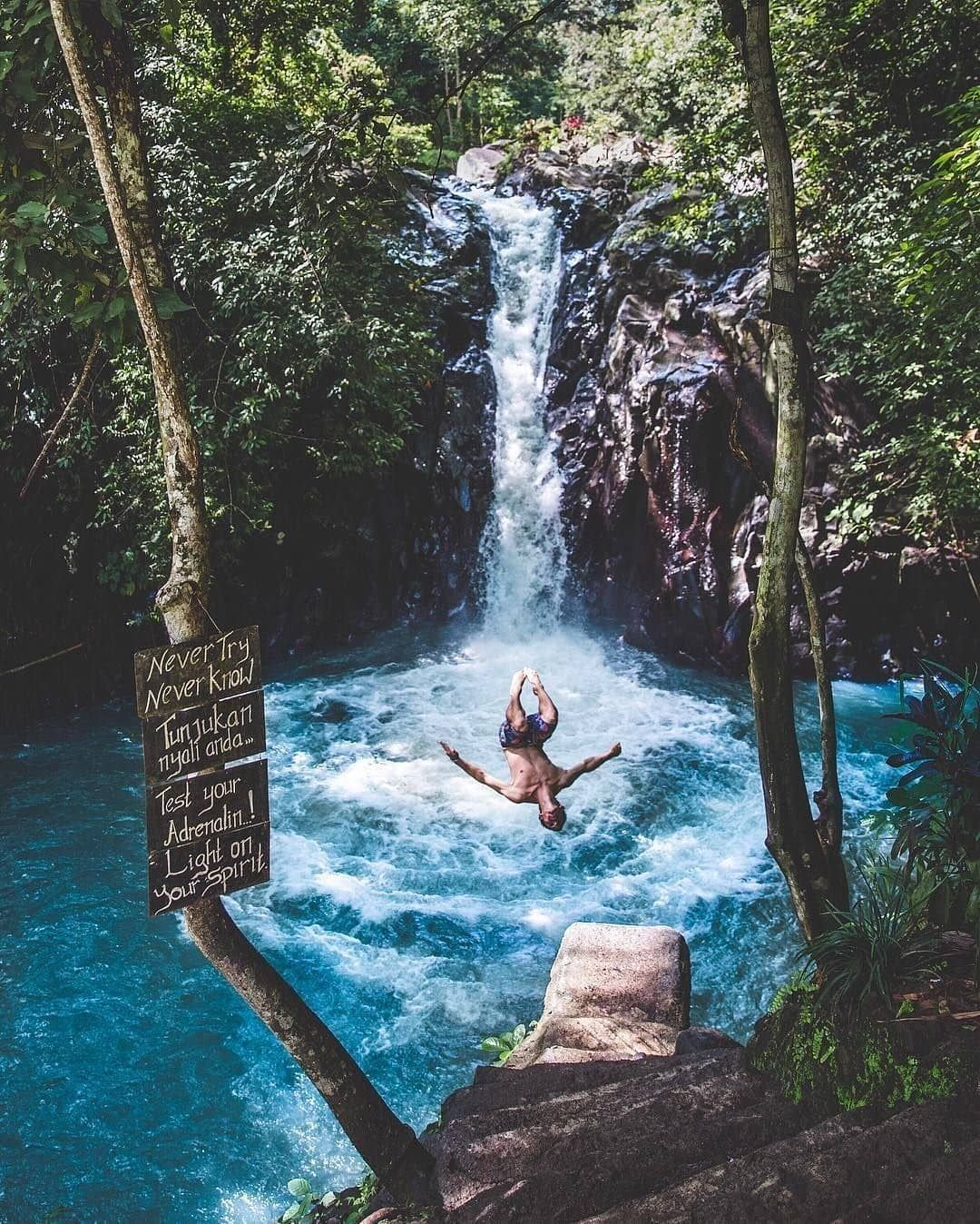Aling Aling Waterfall Very Beautiful And Natural Located North Location Jl Raya Desa Aling Aling Bali Indonesia Travel Bali Travel Beautiful Waterfalls