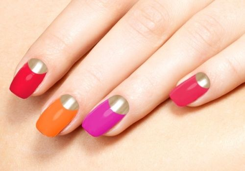 Colorful Nails with Gold Half-moon Manicure