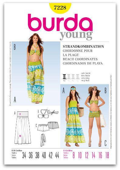 BEACH SWIMWEAR Sewing Pattern - Bandeau Bra Bikini Top Bottoms ...