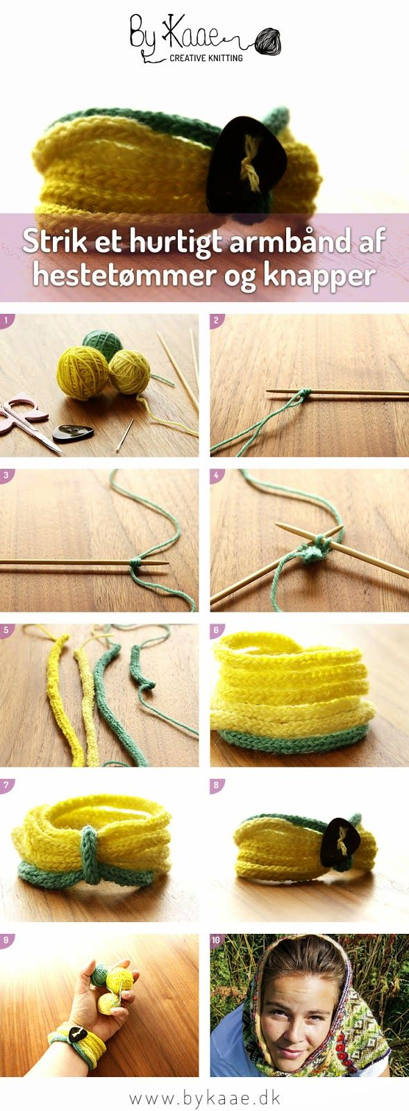 DIY, strik et hurtigt armbånd af hestetømmer og knapper, læs vejledningen på, www.bykaae.dk