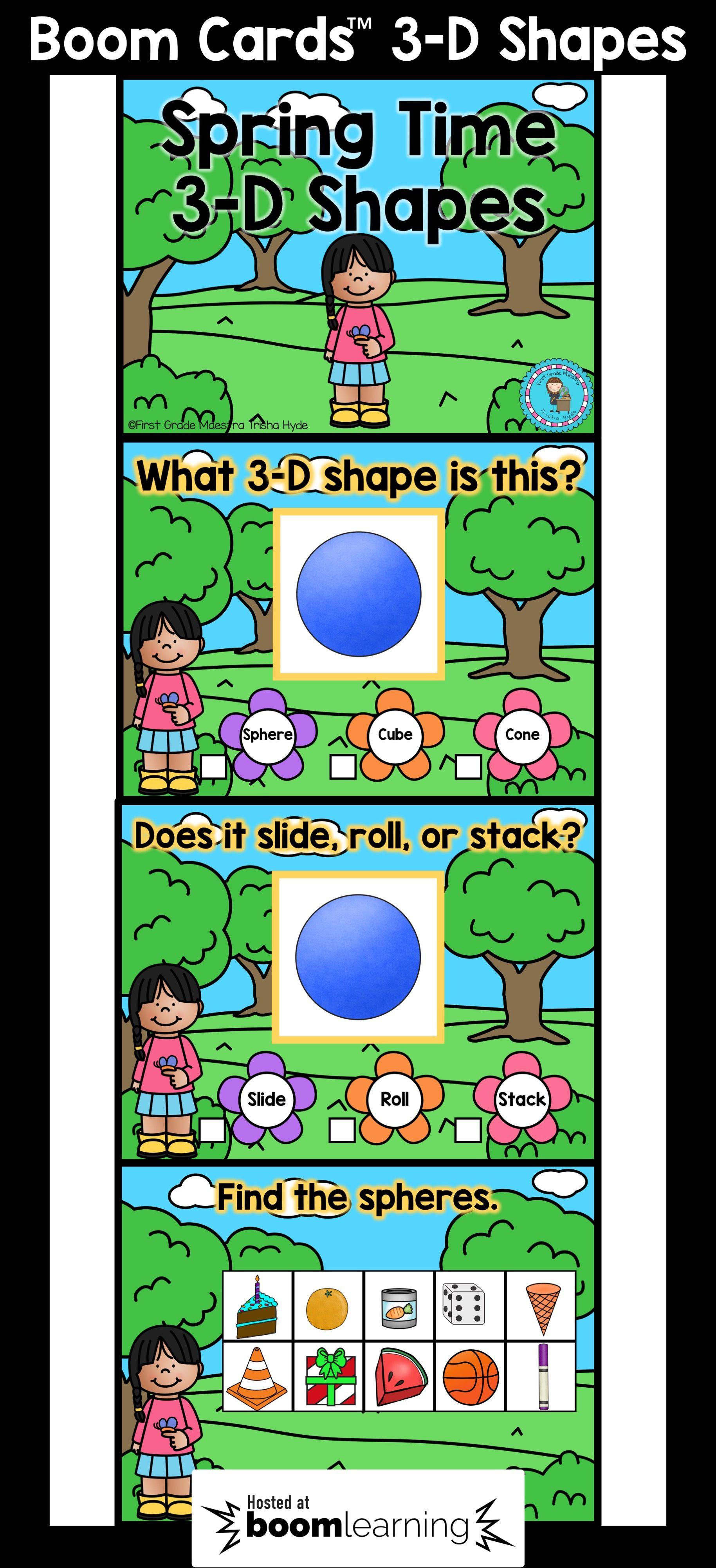Boom cards 3d shapes task cards cards kindergarten