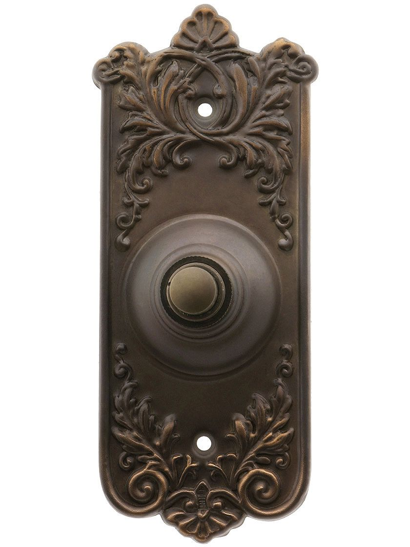 Lorraine Pattern Doorbell Button In Oil-Rubbed Bronze | House of Antique  Hardware - Waterwood Hardware DBZ-076 Pineapple Cover Doorbell Button