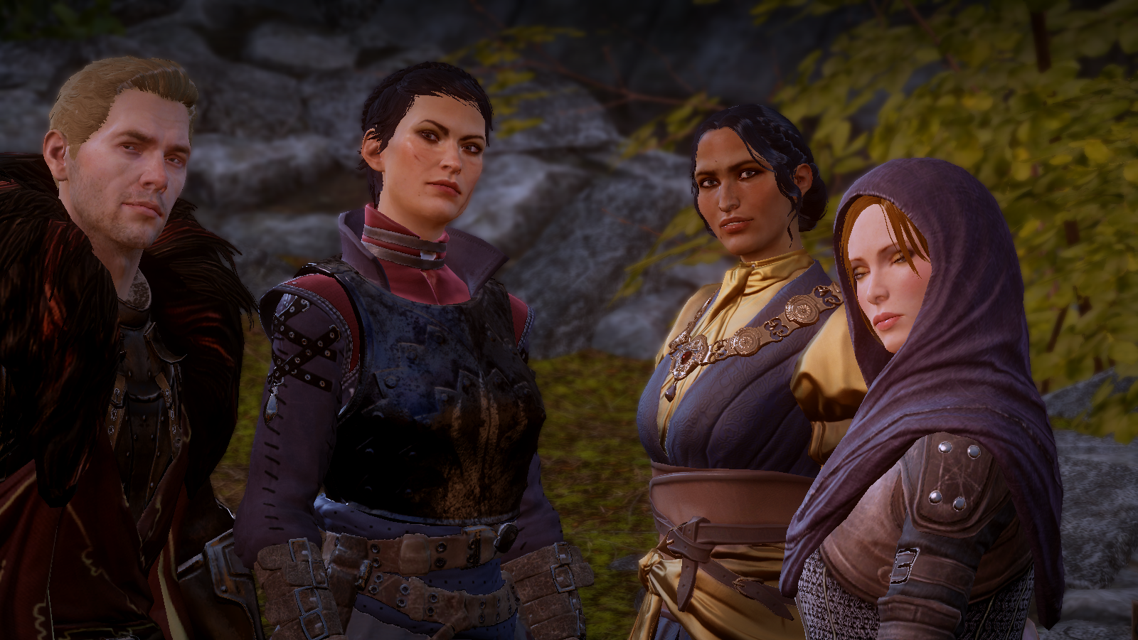 A screenshot of the Inquisitor's advisors (from left: Cullen Rutherford, Cassandra Pentaghast, Josephine Montilyet, and Leliana) at Skyhold just before they announce that I am to become the official leader and proclaimed 'Inquisitor' of the Inquisition.