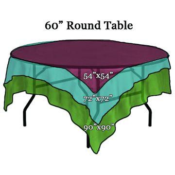 Square Tablecloth sizes on 60 inch Round Table and other linen ...