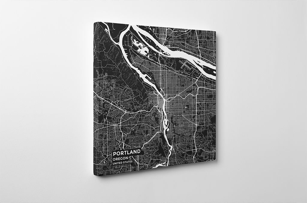 Gallery Wrapped Map Canvas of Portland Oregon
