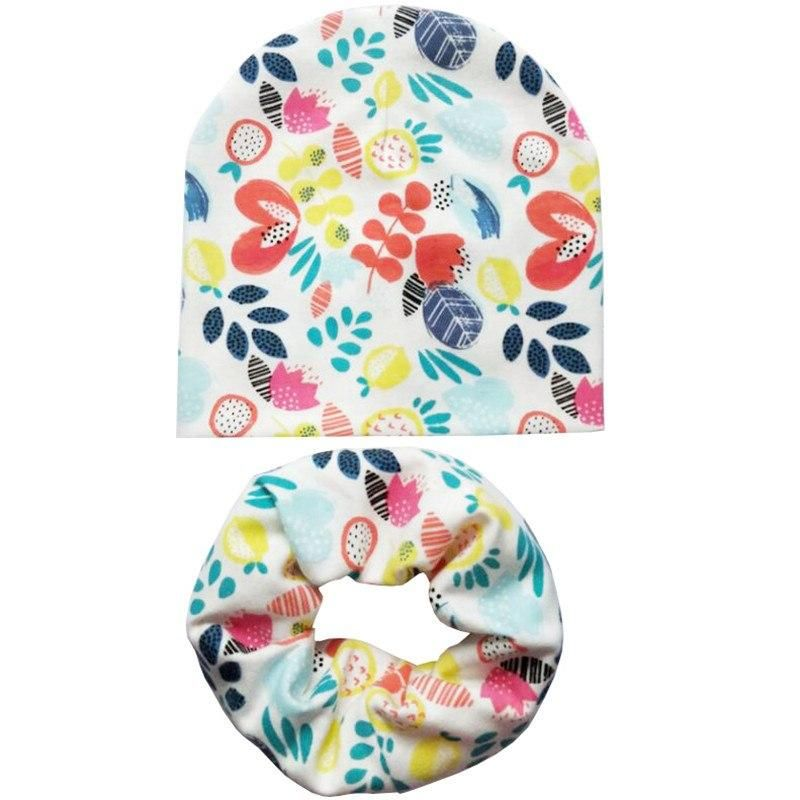 Spring Cotton Baby Beanie Hats Cartoon Print Toddler Infant Cap Scarf Set