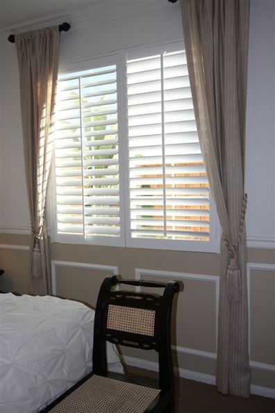 Polywood Shutter With Side Curtains Polywood Shutter With Side