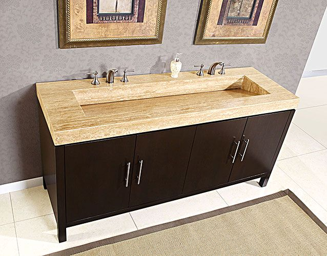 Silkroad 72 inch Travertine Top Bathroom Vanity, Travertine ...