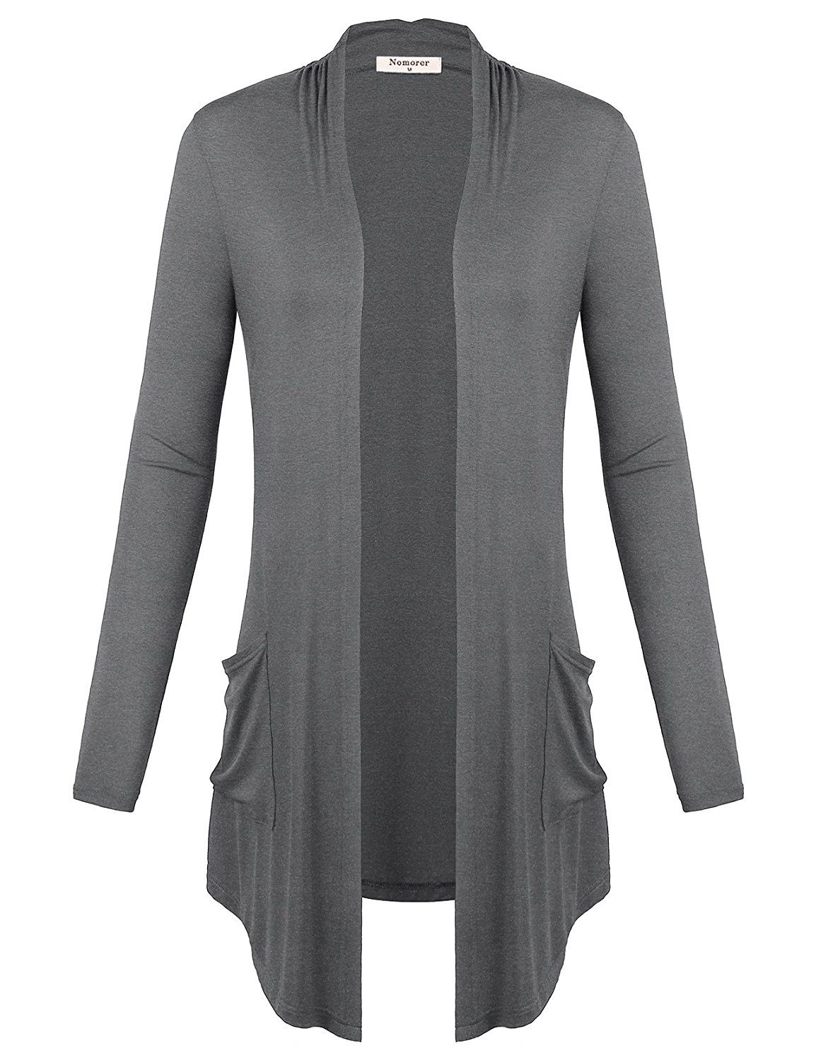 Womens Open Front Long Sleeve With Side Pockets Draped Cardigan ...