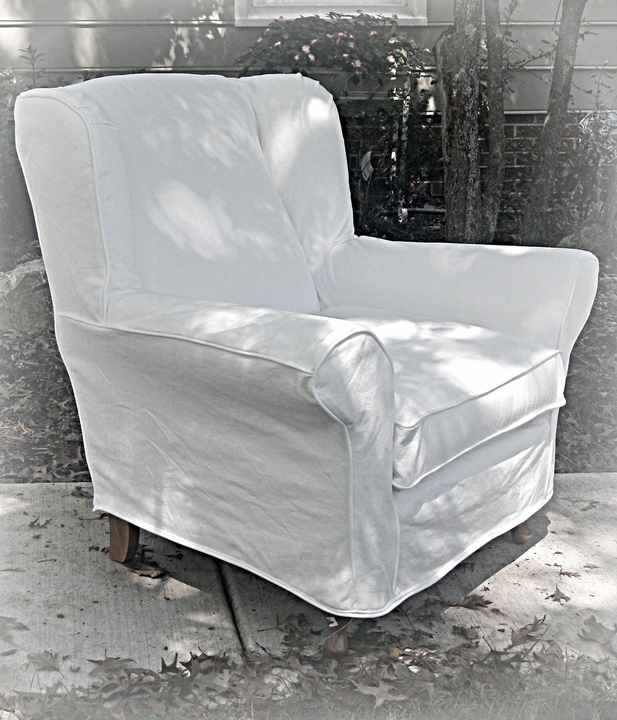 Sofa Slipcover No Sew: White Denim, No Skirt.