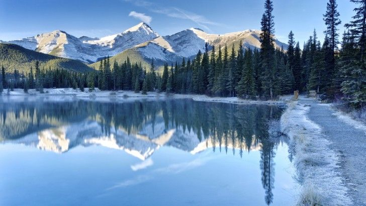 Mountains Sky Forest Trees Lake Winter