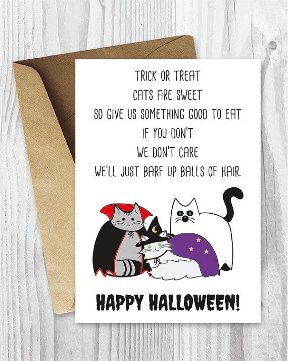 Halloween Cards Funny Halloween Cats Printable Cards by miumicat
