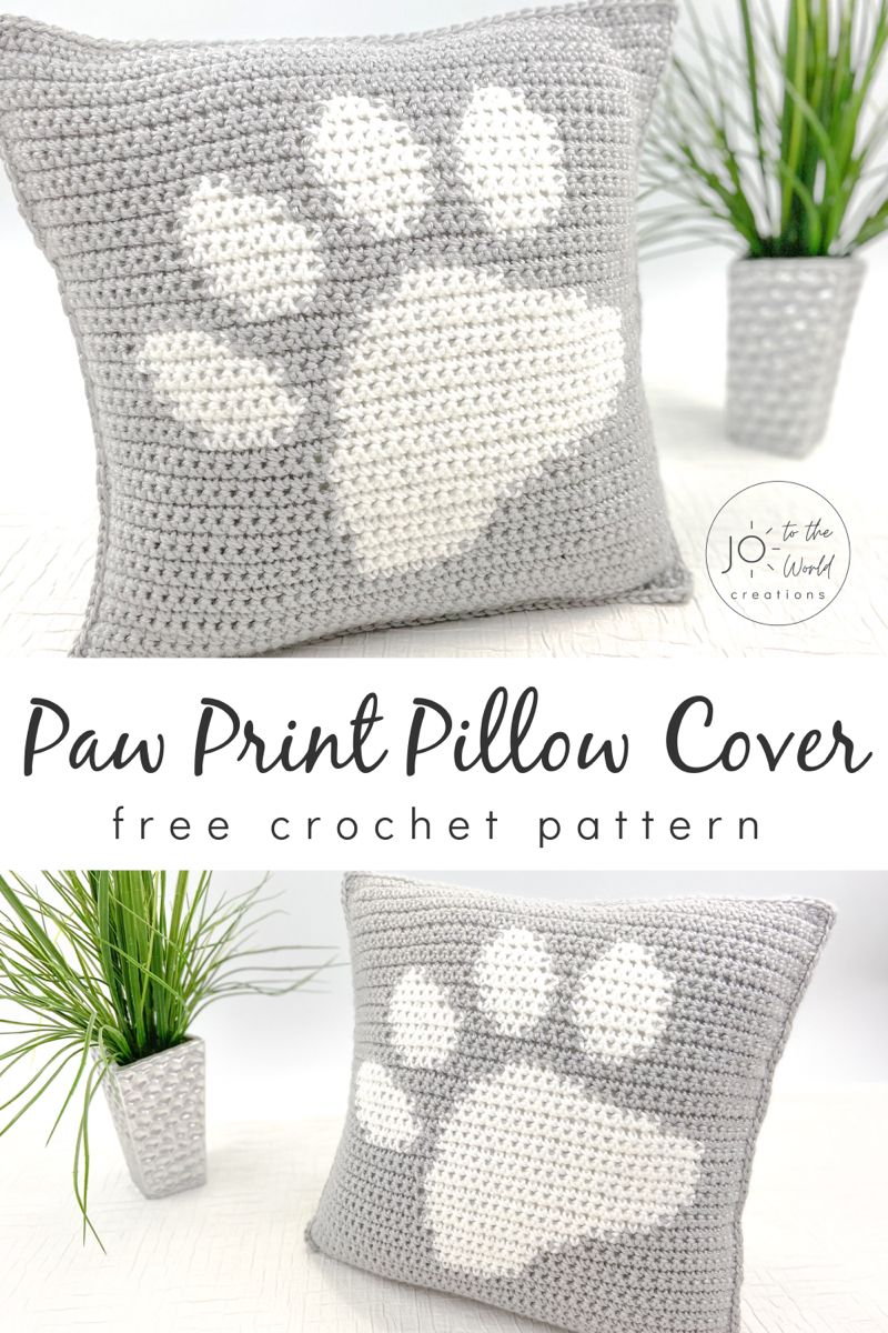 Photo of Paw Print Pillow Cover | Free Crochet Pattern