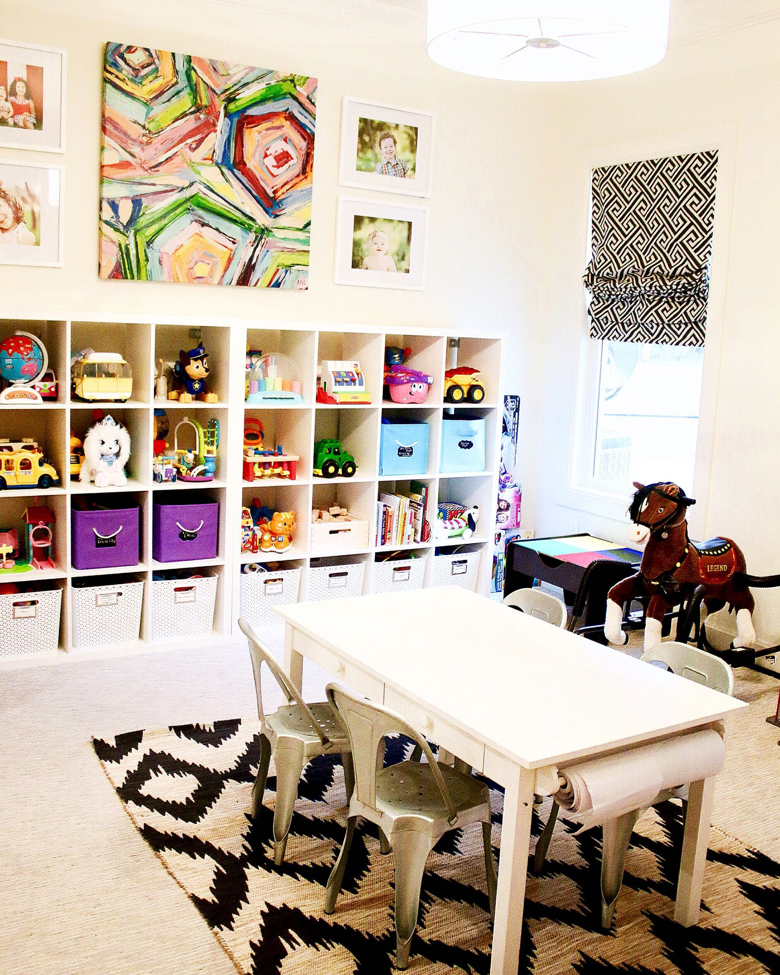 My Kids Bright And Cheery Playroom! Love The Ikea Toy Storage And Colorful  Bold Print