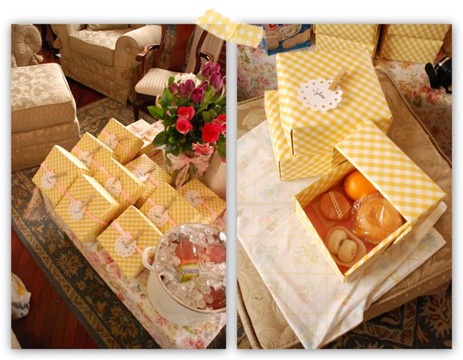 Decorative Box Lunches : Use clothespin and nametag idea to seal paper gift bags