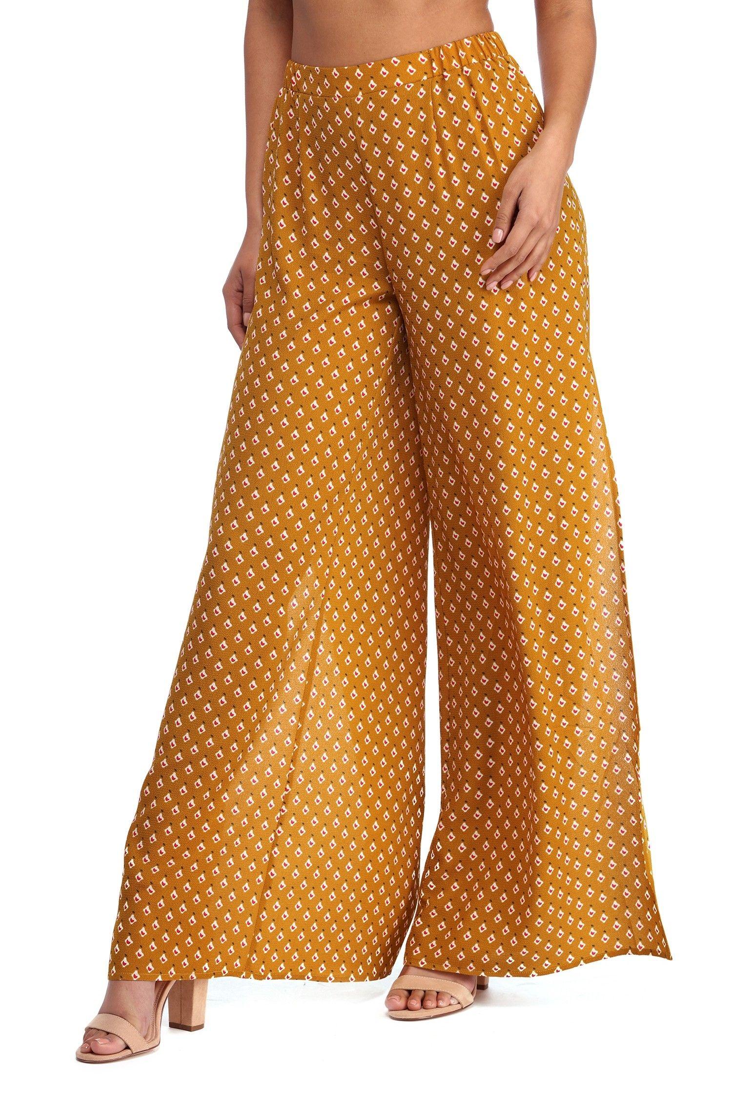 Mustard Pattern Party Wide Pants