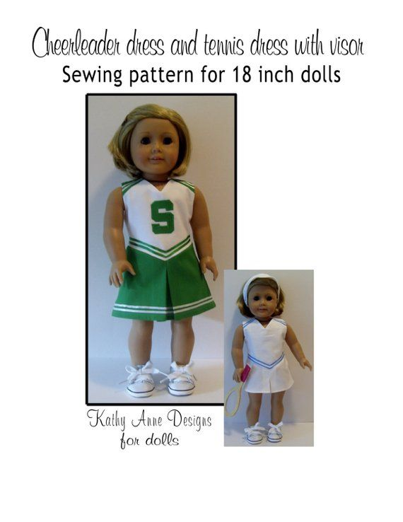 Cheerleader and tennis dress with visor sewing pattern for 18 dolls