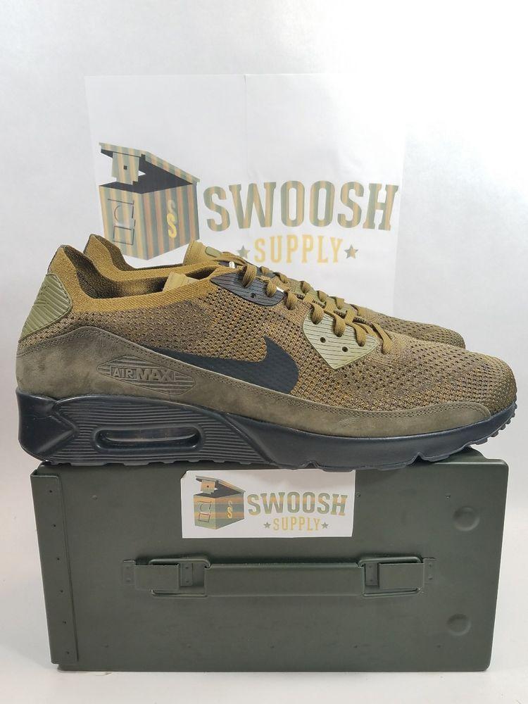 Nike Air Max 90 Ultra 2.0 Flyknit Sneakers Olive flak 875943-302 Sz 15 New