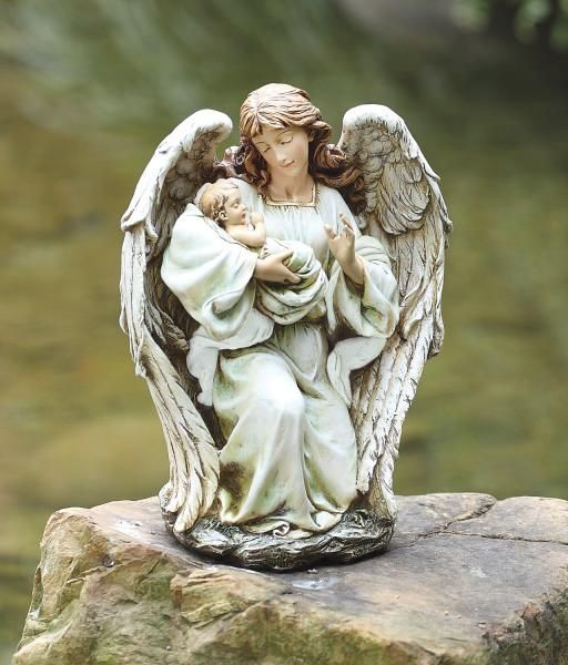 Angel Holding Baby Garden Statue   17 Inch .:. Catholic Faith Store (Statues