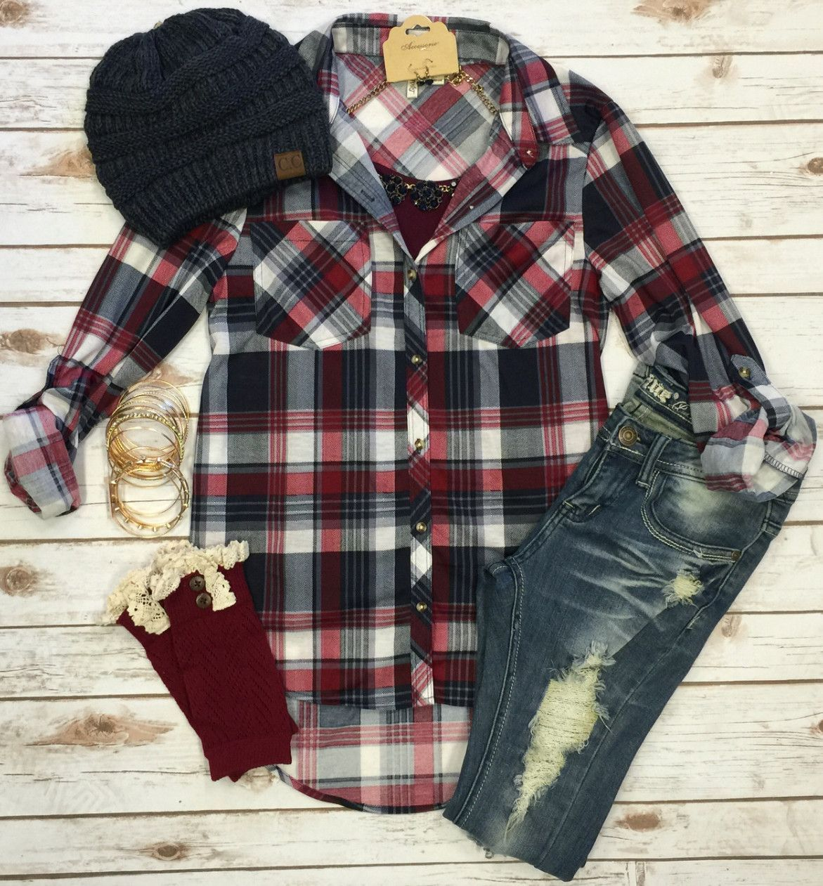 Flannel shirt outfits for women  What I like about you Plaid Flannel Top Burgundy  My Style