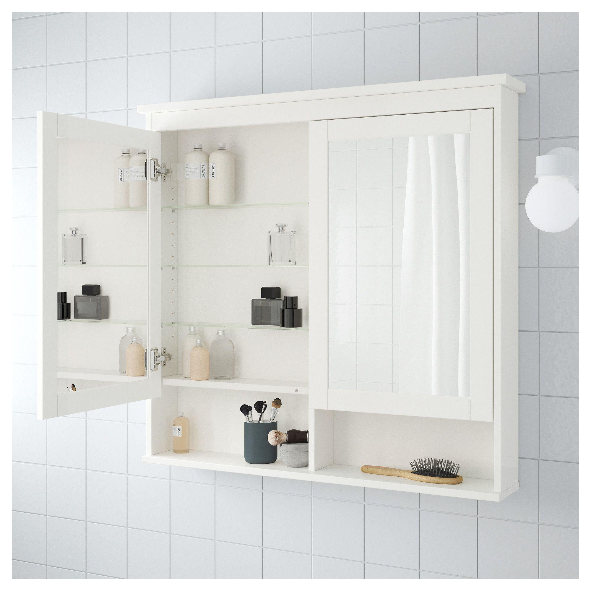HEMNES Spiegelschrank 2 Türen weiß | Spiegelschrank ...