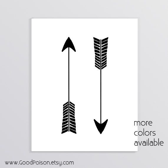 Black arrow prints Arrow art Black and white drawing by GoodPoison