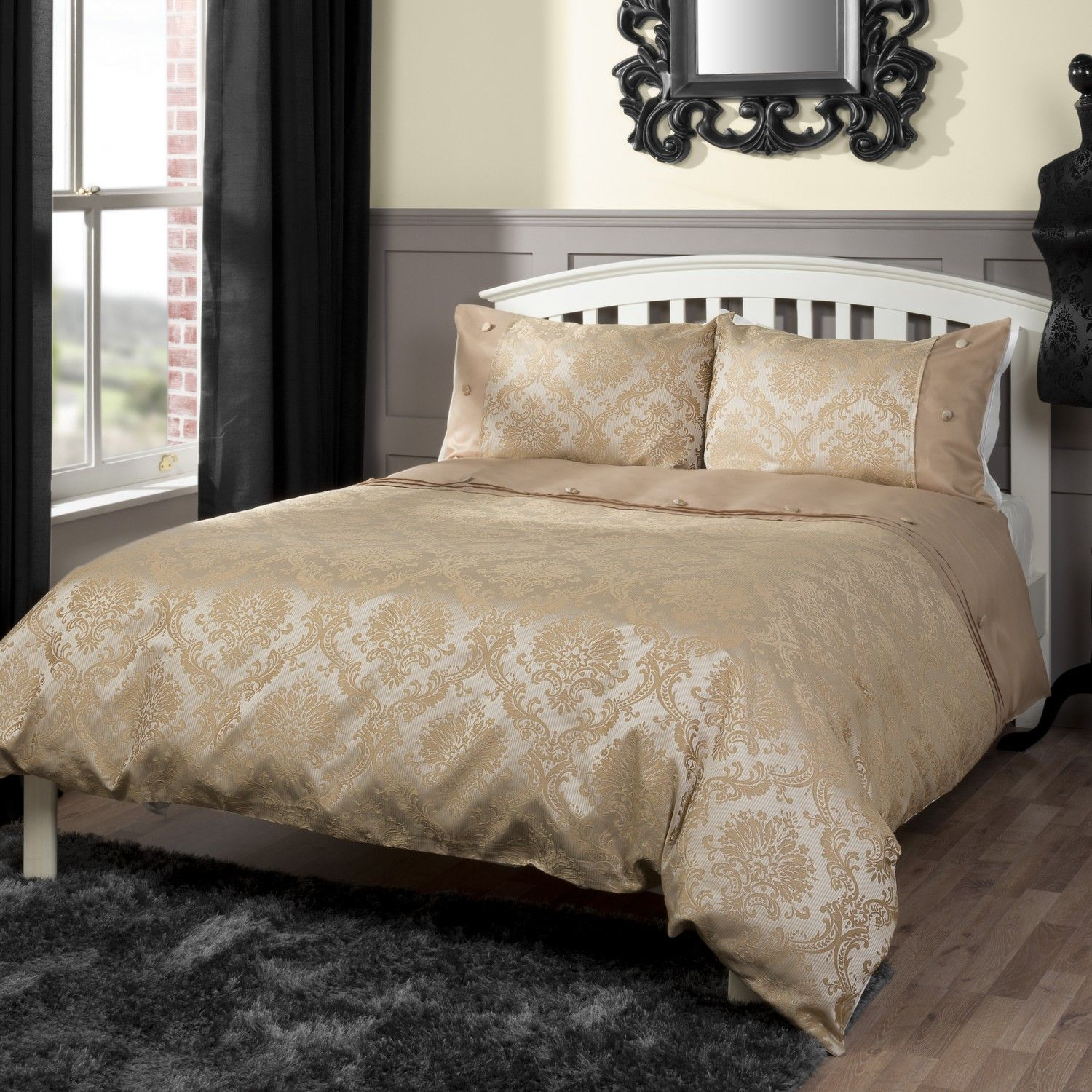 Chadwick Gold Bedding Matching Cushions Available Bedroom Luxury Egyptian Cotton Duvet Sets Uk