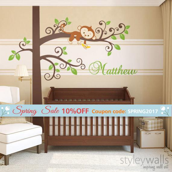 Monkey Wall Decal And Tree