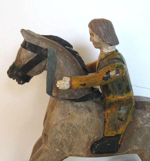 Große dekorative geschnitzt Volkskunst Pferd von jewelryandthings2, $45.00