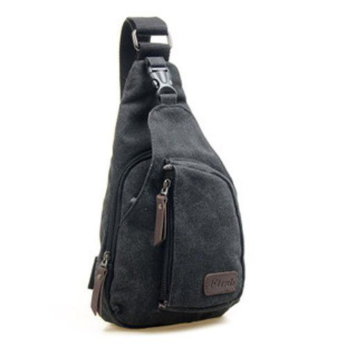 Tobey Canvas Messenger Sling Body Bag Backpack Sport Day Hiking Bag Four Color Available (Black)