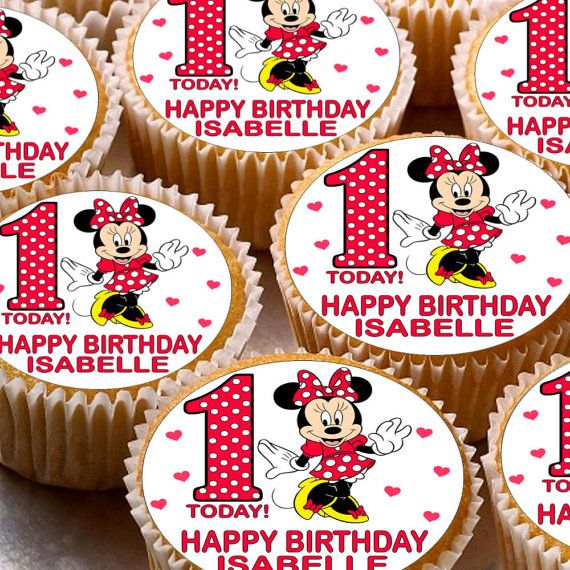 24 x Personalised Minnie Mouse Cup Cake by DecorCakeToppers