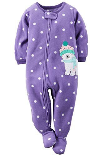 eb43932f1545 Carters Baby Girls One Piece Footed Fleece Pajamas (18 Months ...
