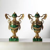 Art. L57 • Chiseled bronze and malachite vase • Ø 38, H 56