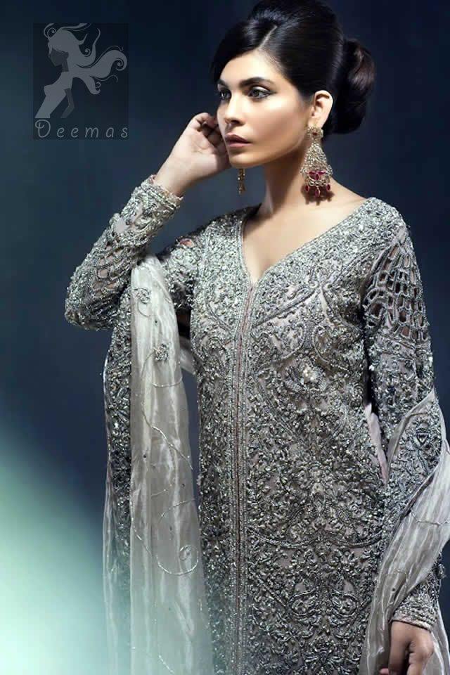 Silver Grey Front Open Gown - Organza Dupatta - Lehenga