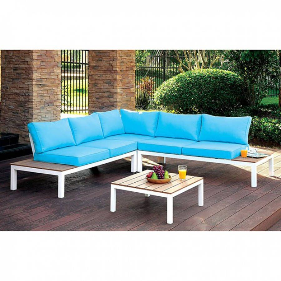 Winona blue white aluminum fabric faux wood patio sectional w table