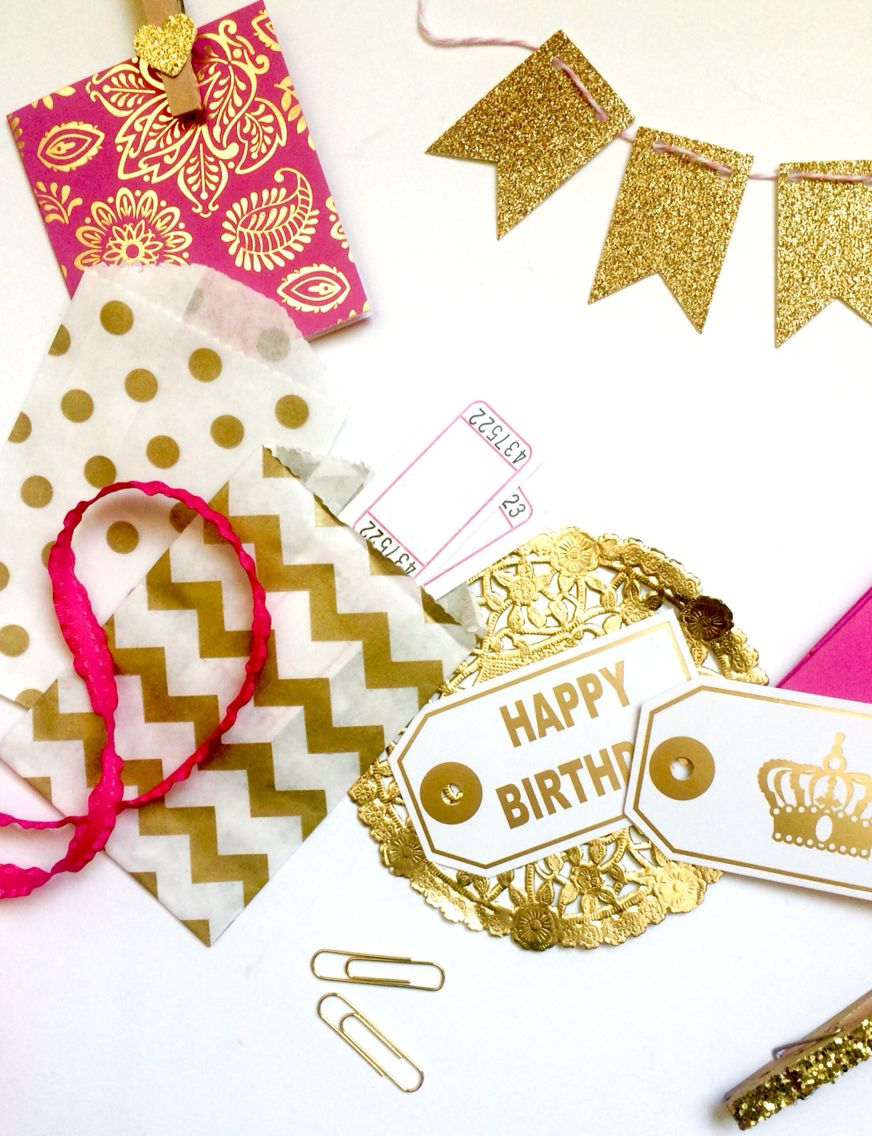 Pink and gold gift packaging kit at Stacey's Love