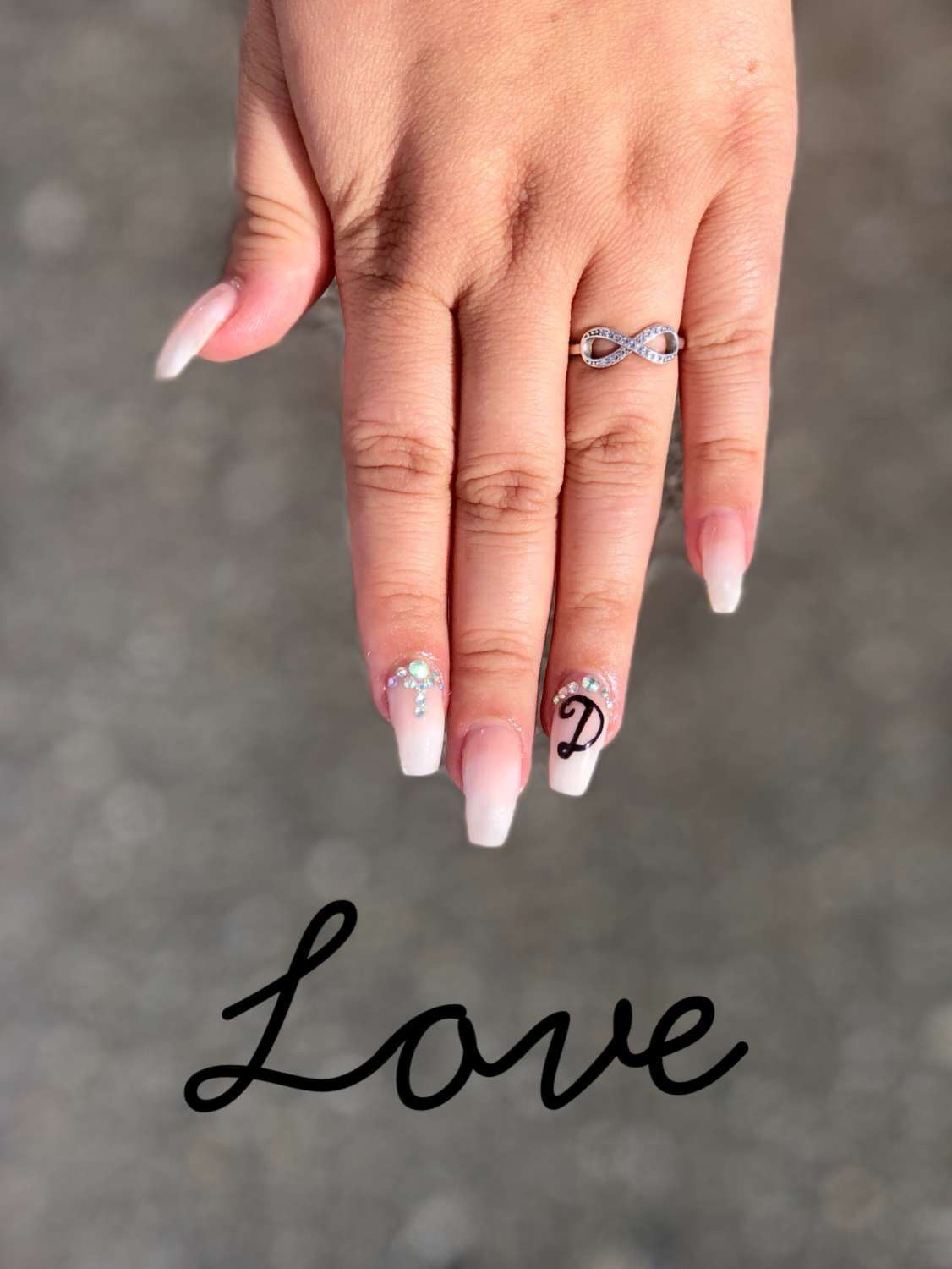Boyfriend Initials On Nails Cute Acrylic Nails Rhinestone Nails Birthday Nails