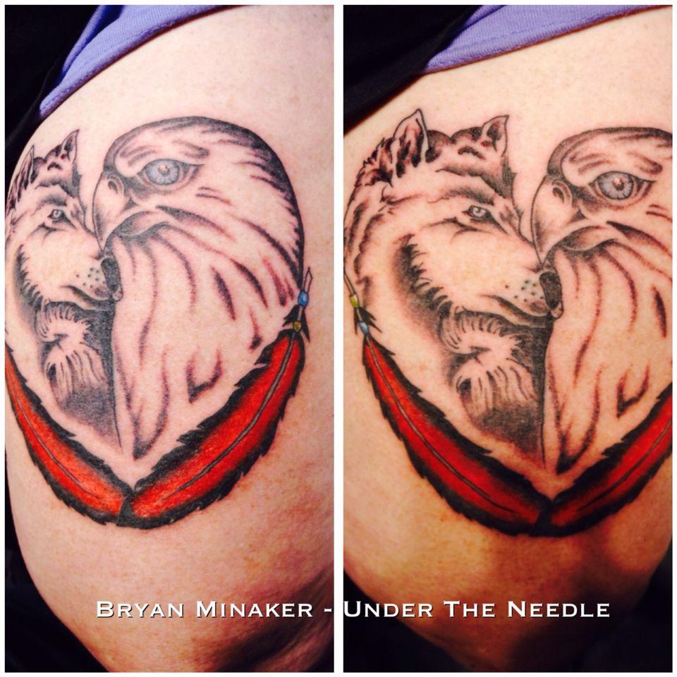 Thigh Leg Tattoo Eagle Wolf Tattoo Heart Shape His Her Love Tattoo Wolf Tattoo Leg Tattoos Tattoos