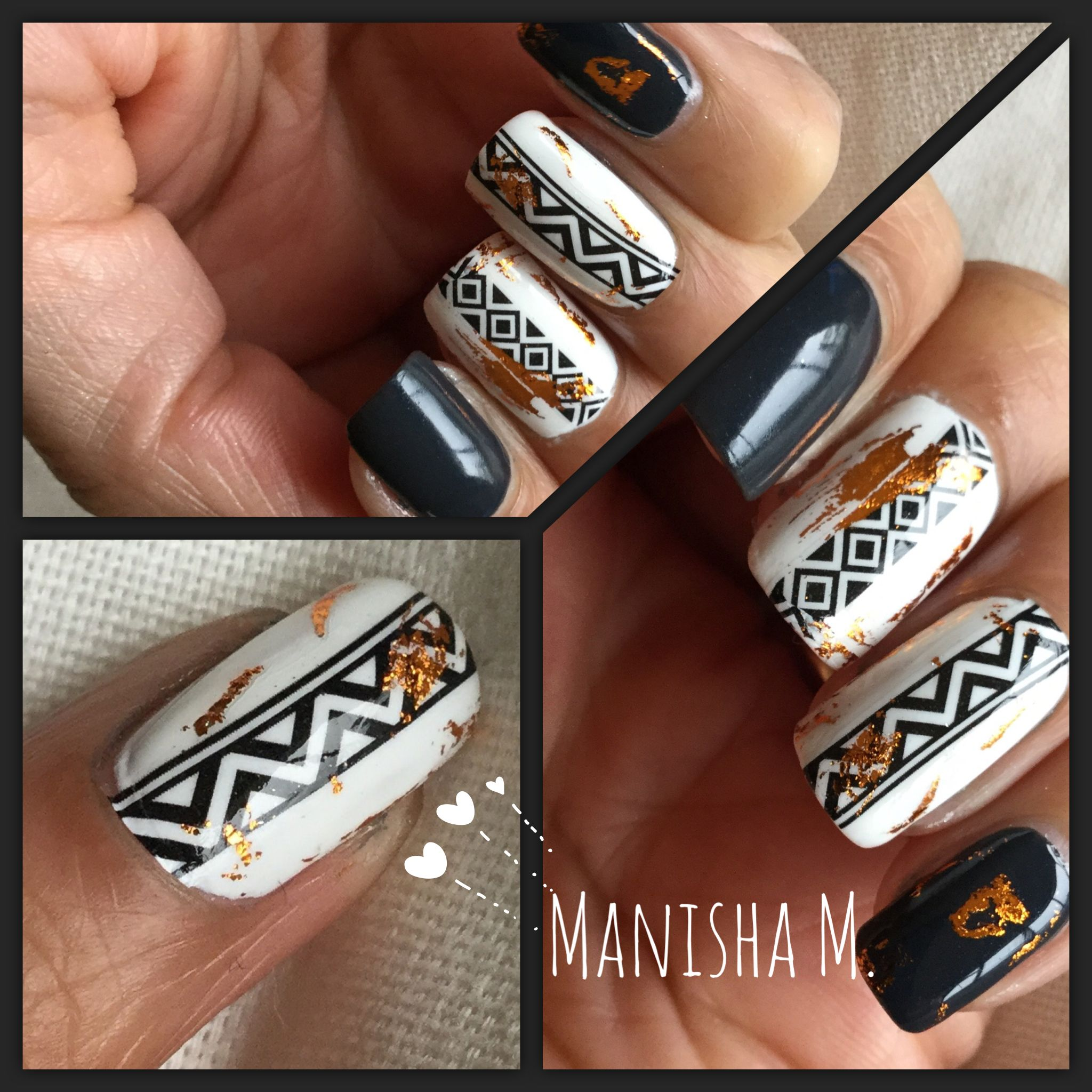 Tribal Water Decals on Essie Blanc Base, Topped with Copper Foil and ...