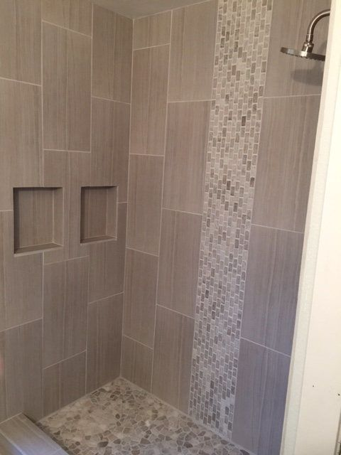 Master Bath Ideas // Mixed Quartz Mini Stone Subway Tile Shower With Mixed  Quartz Stone Mosaic Tile In Shower Pan. ...
