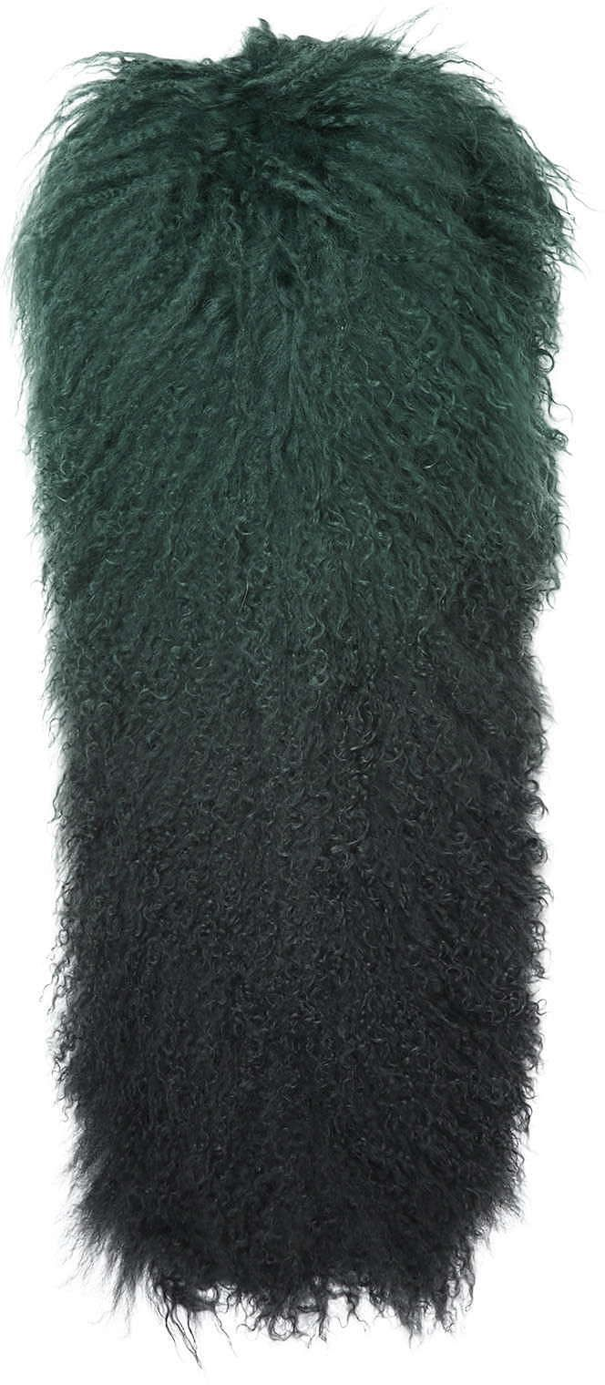 Womens bottle green ombre mongolian scarf from Topshop - £85 at ClothingByColour.com