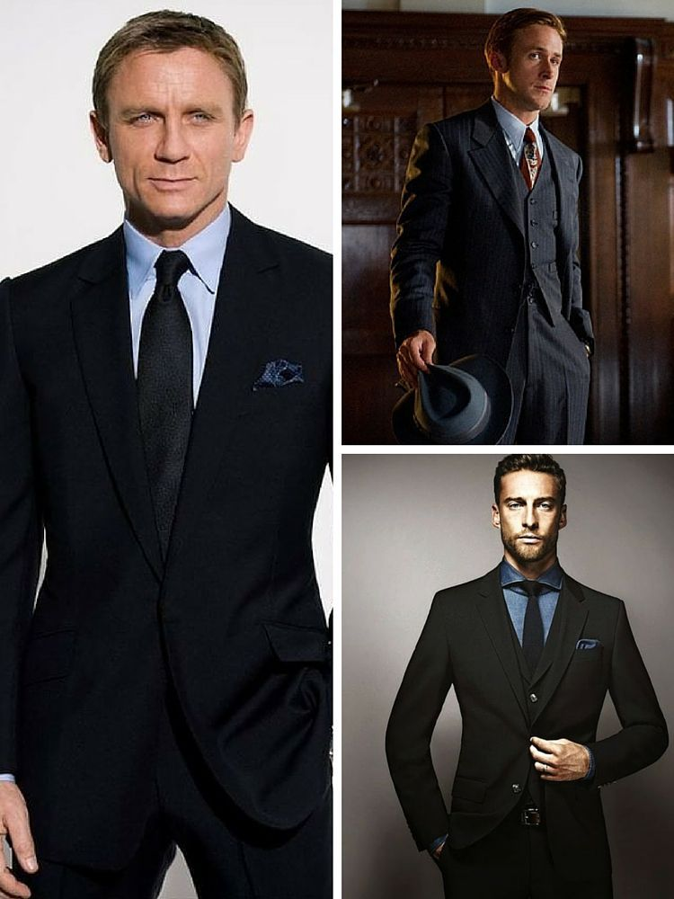 Black suits with light blue shirts black ties men for Black suit with black shirt and tie