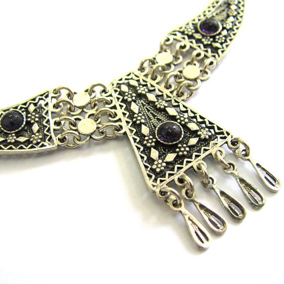 Ethnic Necklace, Filigree, Chandelier, Sterling silver, Decorated With Onyx Gemstones, Women Jewelry - Free Shipping ID234 on Etsy, $104.37